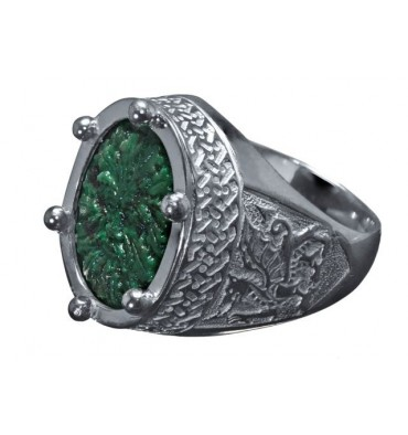 Hand Carved Celtic Green Man Jade and Sterling Silver Ring.