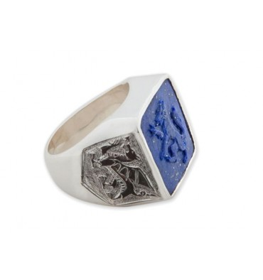 Wolf Ring sculpted Lapis on Sterling Silver