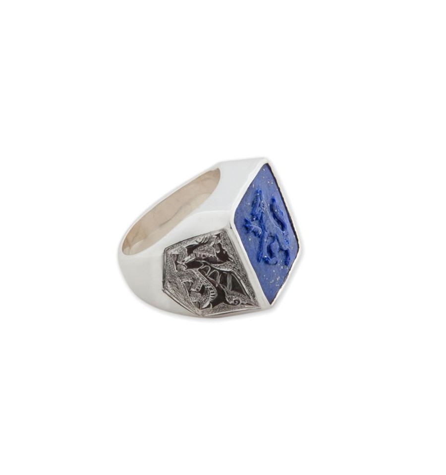 Wolf Ring sculpted Lapis on Sterling Silver - Regnas Jewelry