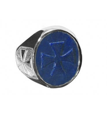 Templar Cross Ring Hand carved Lapis on Sterling silver