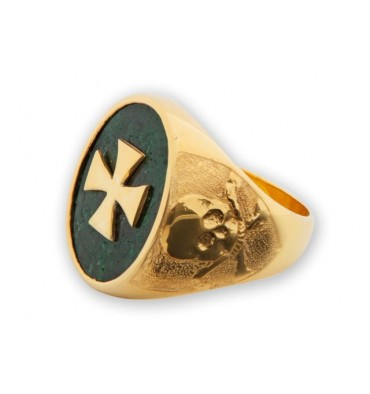 Jade Templar Ring on Gold Plated Sterling Silver