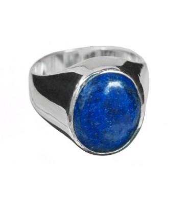 Lapis Cabochon Ring with Sterling Silver Chassis