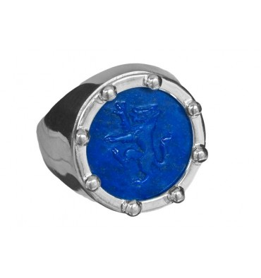 Lapis Ring with a hand sculpted wolf set to sterling silver