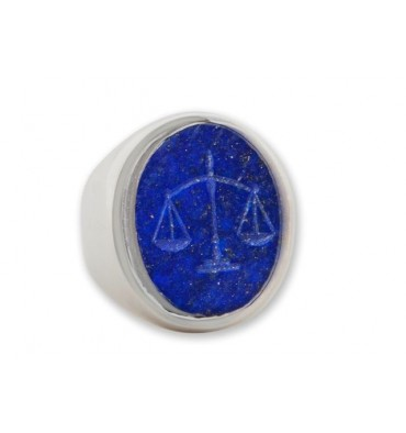 Engraved Ring featuring the symbol of justice set to Lapis lazuli