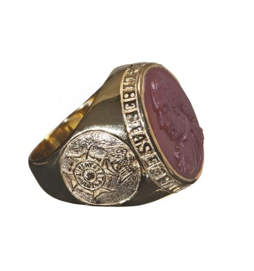 SAR Membership Ring Red Agate & Gold Plated Sterling Silver