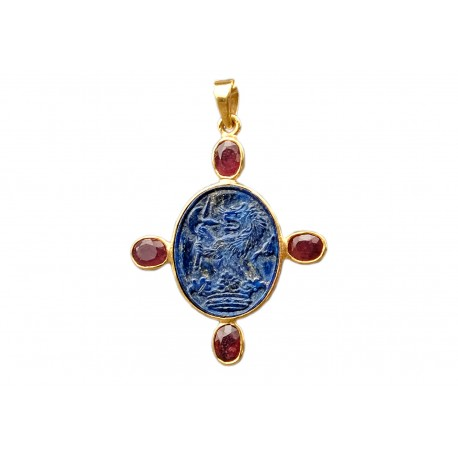Lapis Pendant Handmade Lion And War Axe Gold Plated Sterling Silver 925