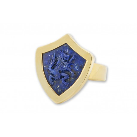 Lapis Ring Handmade Carved Harry Wolf Shield Shape Gold Plated Sterling Silver 925
