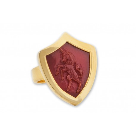 Unicorn Ring Hand Carved Red Agate Genuine Gemstone Shield Shape Gold Plated Sterling Silver 925