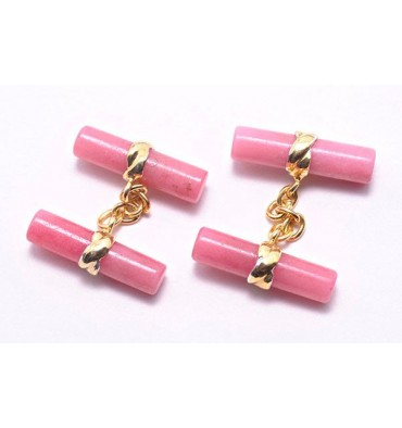 Rhodonite Imperial Double Cufflinks - Gold Plated Silver