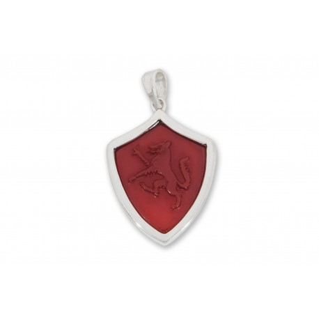 Wolf Pendant Red Agate Hand Carved Sterling Silver 925