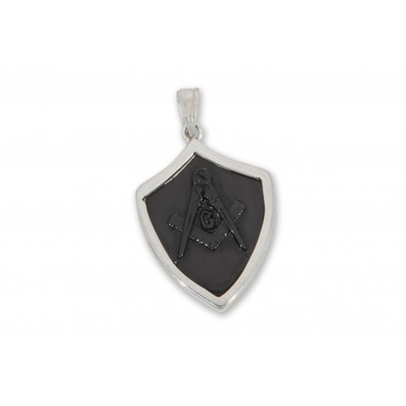 Masonic Pendant Black Onyx Hand Carved Sterling Silver 925