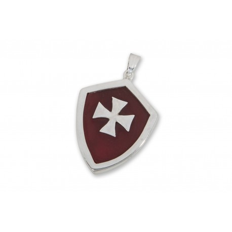 Red Agate Pendant Heraldic Templar Cross Over Laid Sterling Silver 925