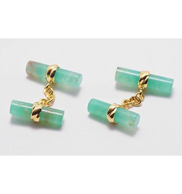 Chrysoprase Double Gold Plated Silver Cufflinks