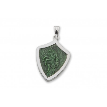 Jade Pendant Unicorn Hand Carved Sterling Silver 925