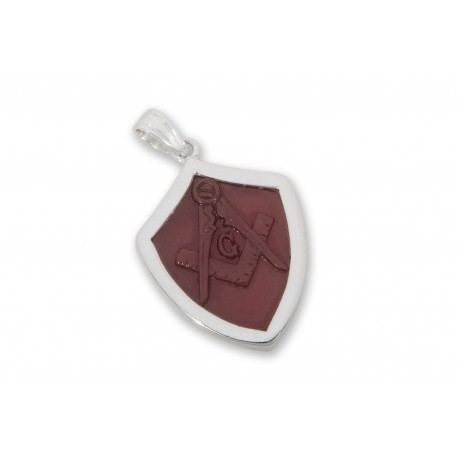 Masonic Pendant Set Square And Compass Hand Carved Red Agate Sterling Silver 925