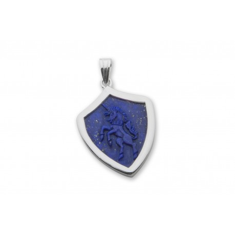 Lapis Pendant Unicorn Hand Carved Sterling Silver 925
