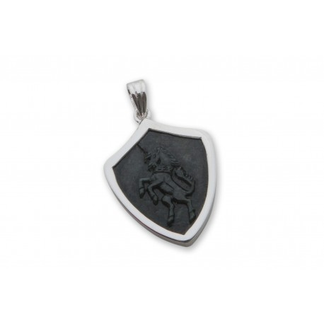 Black Onyx Pendant Unicorn Hand Carved Sterling Silver 925