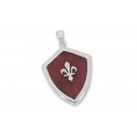 Red Agate Pendant Heraldic Fleur De Lys Over Laid Sterling Silver 925