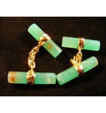 Chrysoprase Solid Gold Double Imperial Cuff Links