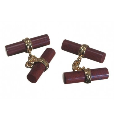 Red Jasper Imperial Double Cufflinks - Gold Plated Silver