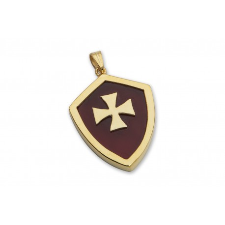 Red Agate Pendant Heraldic Templar Cross Gold Plated Sterling Silver 925