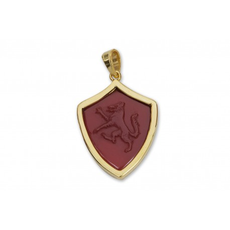 Wolf Pendant Red Agate Hand Carved Genuine Gemstone Gold Plated Sterling Silver 925
