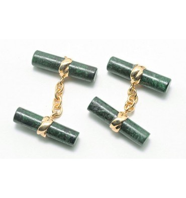 Green Jade Albite Imperial Double Cufflinks - Gold Plated Silver