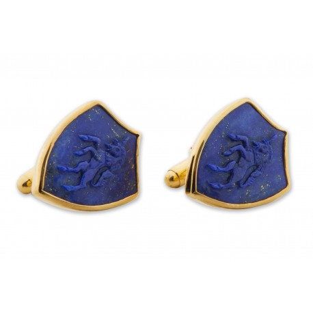 Lapis Shield Cufflinks Heraldic Hand Carved Unicorn Gold Plated Sterling Silver 925