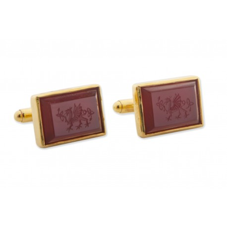 Celtic Dragon Cufflinks Red Agate Hand Engraved Gold Plated Sterling Silver 925