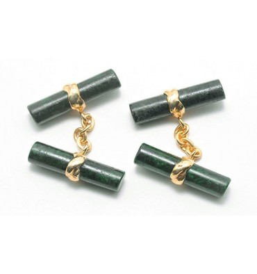 Green Jade Albite Imperial Double Cufflinks - Sterling Silver