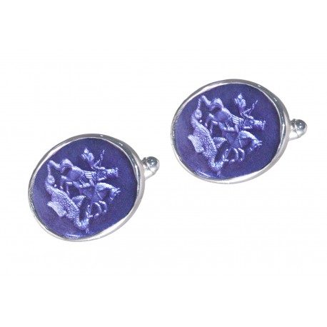 Saint George Cufflinks Hand Engraved Synthetic Amethyst Sterling Silver 925
