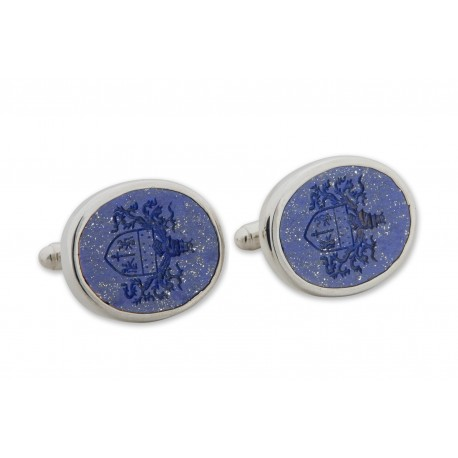 Lapis Cufflinks European Coat Of Arms Sterling Silver 925