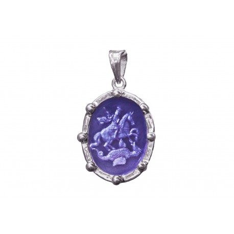Saint George Pendant Hand Engraved Synthetic Amethyst Heraldic Sterling Silver 925
