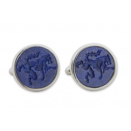 Lapis Cufflinks Hand Engraved Wolf Sterling Silver 925