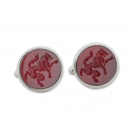 Red Agate Cufflinks Hand Engraved Wolf Sterling Silver 925
