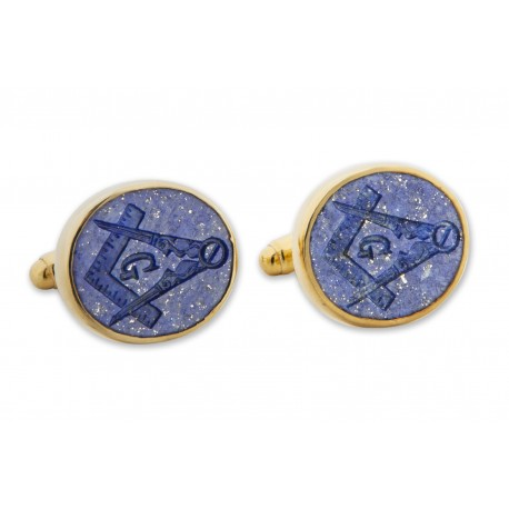 Masonic Cufflinks Set Square and Compass Lapis Gemstone Gold Plated Sterling Silver 925