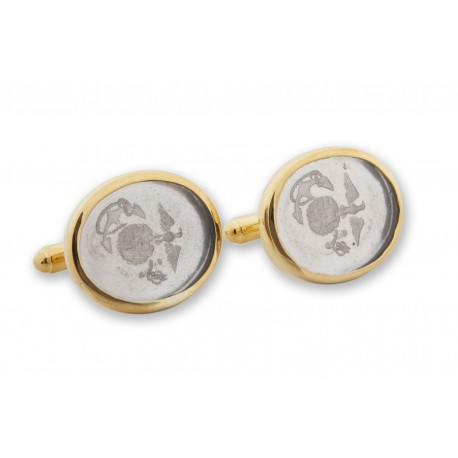 Crystal Cufflinks Logo Of United States Marine Corps Gold Plated Sterling Silver 925