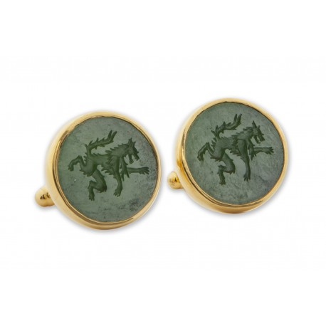 Canada Jade Cufflinks Hand Engraved Wolf Gold Plated Sterling Silver 925