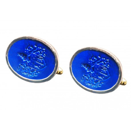 Lapis Cufflinks European Coat Of Arms Gold Plated Sterling Silver 925