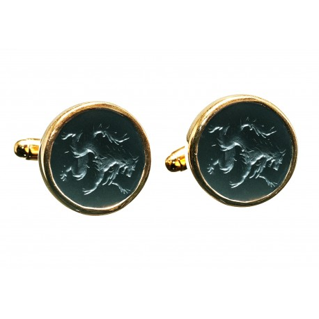 Black Onyx Cufflinks Hand Engraved Wolf Gold Plated Sterling Silver 925