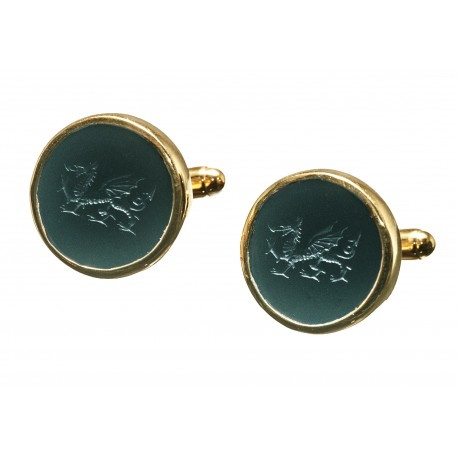 Black Onyx Cufflinks Hand Engraved Welsh Dragon Gold Plated Sterling Silver 925