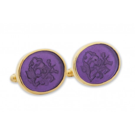Saint George Cufflinks Amethyst Hand Engraved Gold Plated Sterling Silver 925