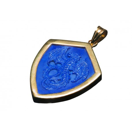 Celtic Dragon Pendant Heraldic Hand Carved Lapis Gold Plated Sterling Silver 925