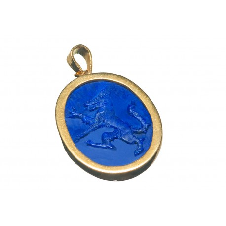 Wolf Pendant Lapis Heraldic Hand Carved Gold Plated Sterling Silver 925