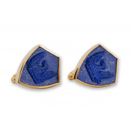 Lapis Shield Cufflinks Heraldic Hand Carved Phoenix Gold Plated Sterling Silver 925