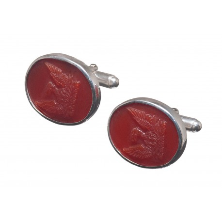 Red Agate Cufflinks Heraldic Noble Family Crest Eagle Sterling Silver 925