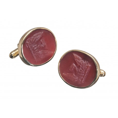 Red Agate Cufflinks Heraldic Noble Family Crest Eagle Gold Plated Sterling Silver 925