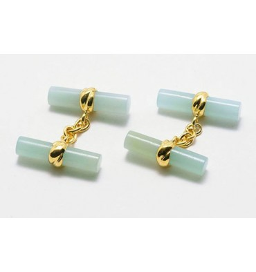 Aventurine Imperial Double Cylinder Gold Plated Sterling silver Cufflinks