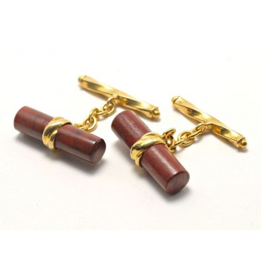 Red Jasper Silver Cuff Links Gold Plated