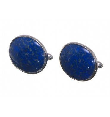 Lapis Normandy Giant Oval Sterling Silver Cufflinks